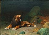 Jean Leon Gerome Lion Snapping at a Butterfly Print