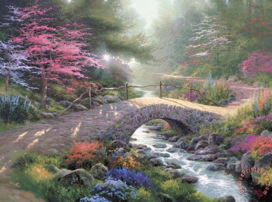 Thomas Kinkade Bridge of Faith Art Print
