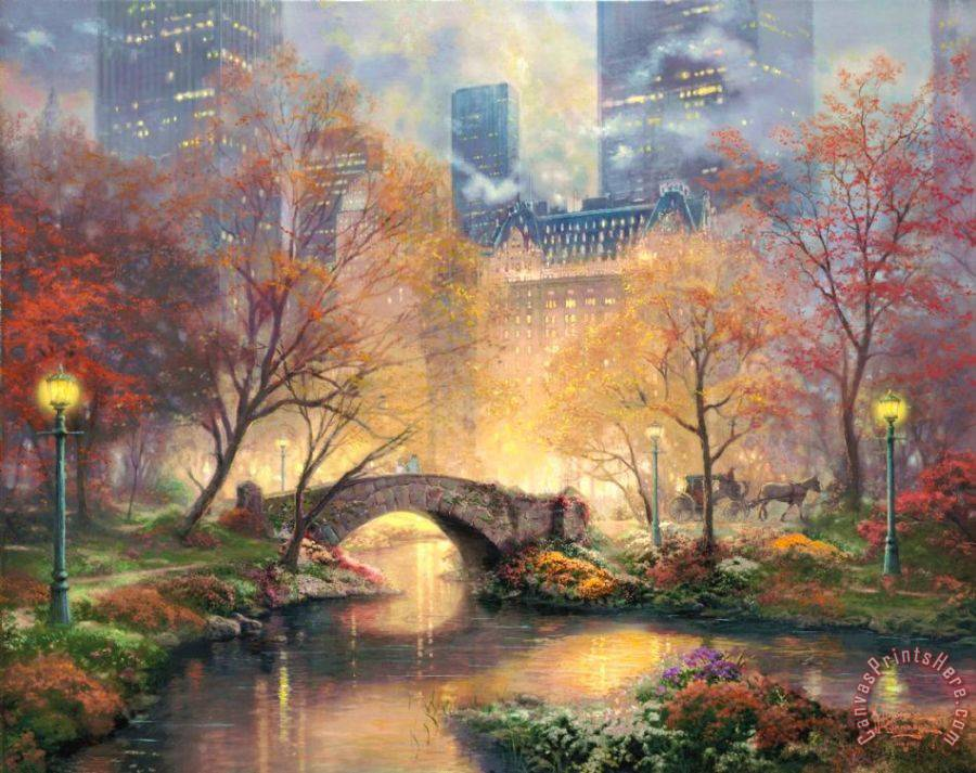 Thomas Kinkade Central Park in The Fall Art Print