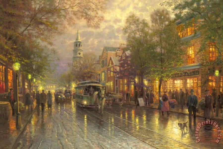 Thomas Kinkade Evening on The Avenue Art Painting