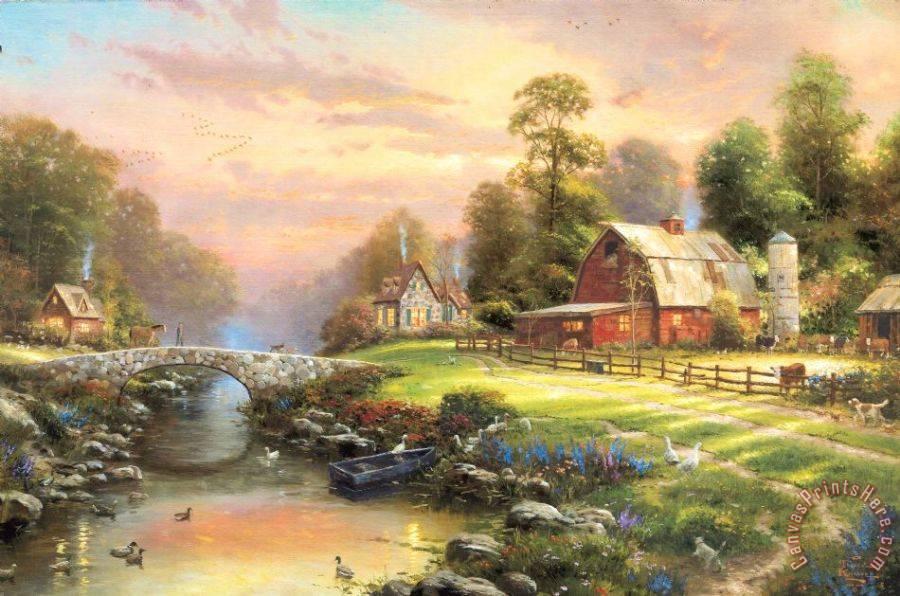 Thomas Kinkade Sunset at Riverbend Farm Art Print for sale ...