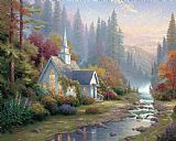 Thomas Kinkade Forest Chapel Print