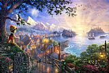 Thomas Kinkade Pinocchio Wishes Upon a Star Print