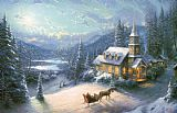 Thomas Kinkade Sunday Evening Sleigh Ride Print