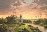 Thomas Kinkade Sunrise Chapel Print