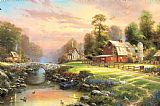 Thomas Kinkade Sunset at Riverbend Farm Print