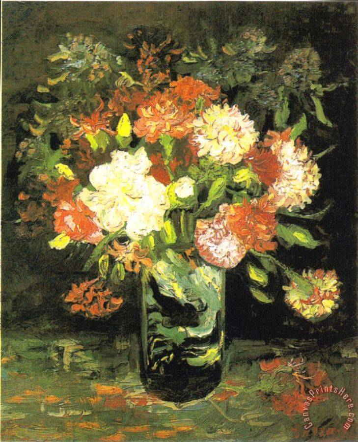 Vincent van Gogh Vase with Carnations Art Print