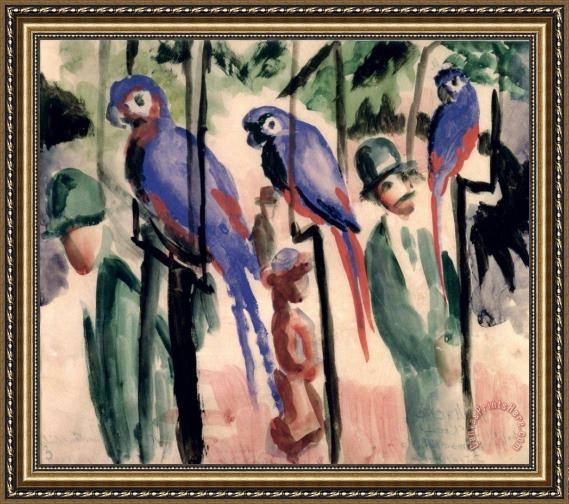 August Macke Blue Parrots Framed Print