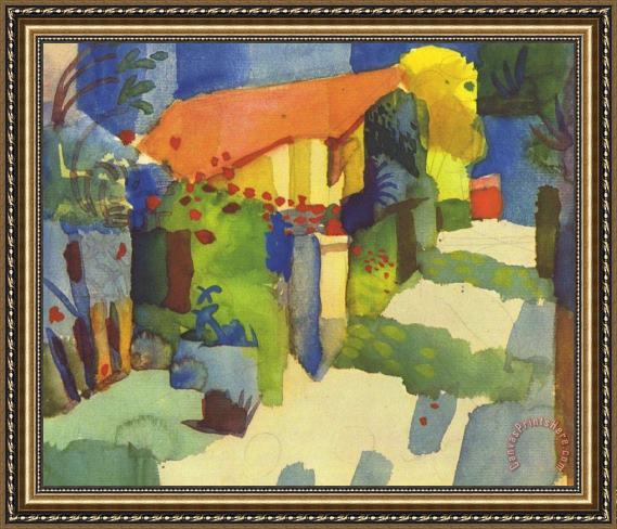 August Macke House In The Garden Framed Print