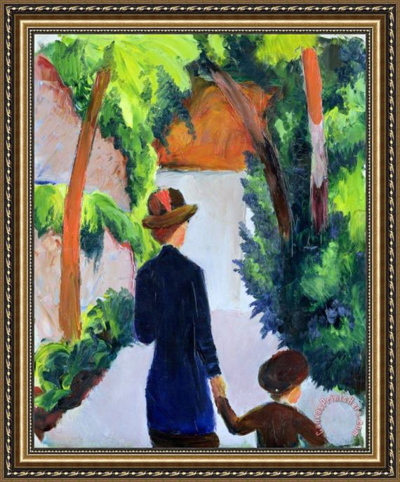 August Macke Mother and Child in the Park Framed Print