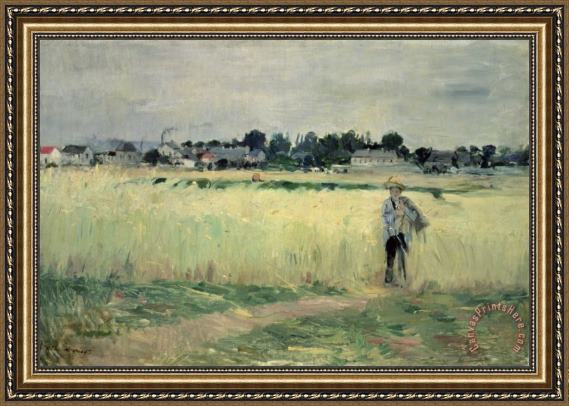 Berthe Morisot In the Wheatfield at Gennevilliers Framed Print
