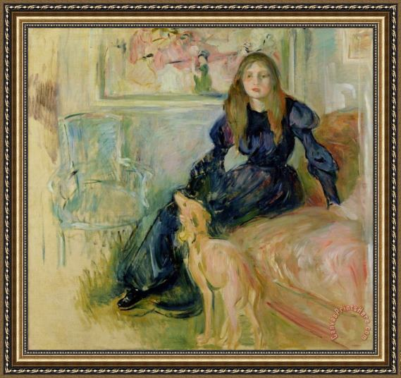 Berthe Morisot Julie Manet and her Greyhound Laerte Framed Print