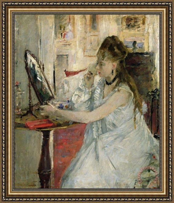 Berthe Morisot Young Woman Powdering her Face Framed Print
