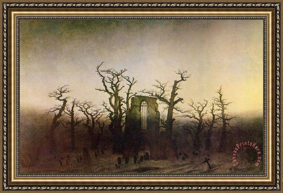 Caspar David Friedrich Abbey In An Oak Forest Framed Print