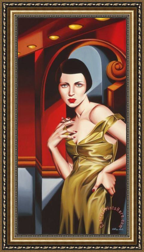 Catherine Abel Olive Satin Dress Framed Print