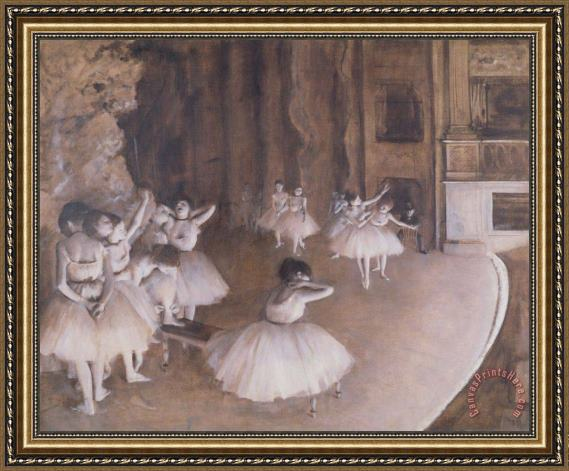 Edgar Degas Ballet Rehearsal on the Stage Framed Print