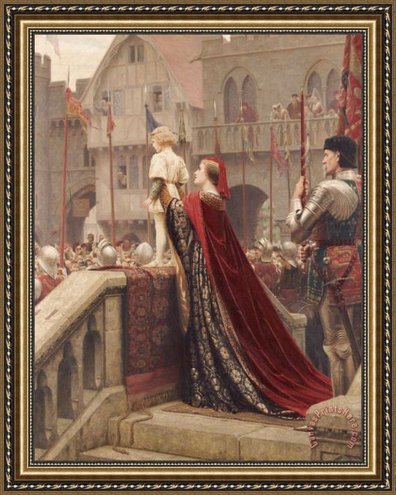 Edmund Blair Leighton A Little Prince Likely In Time To Bless A Royal Throne Framed Print