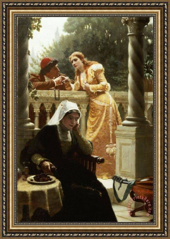 Edmund Blair Leighton A Stolen Interview Framed Print