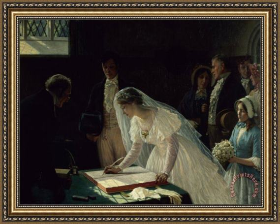 Edmund Blair Leighton Signing the Register Framed Print