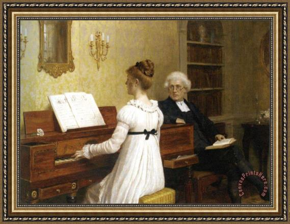 Edmund Blair Leighton The Piano Lesson Framed Print