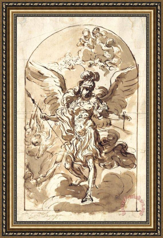 Girolamo Troppa The Archangel Michael Framed Painting
