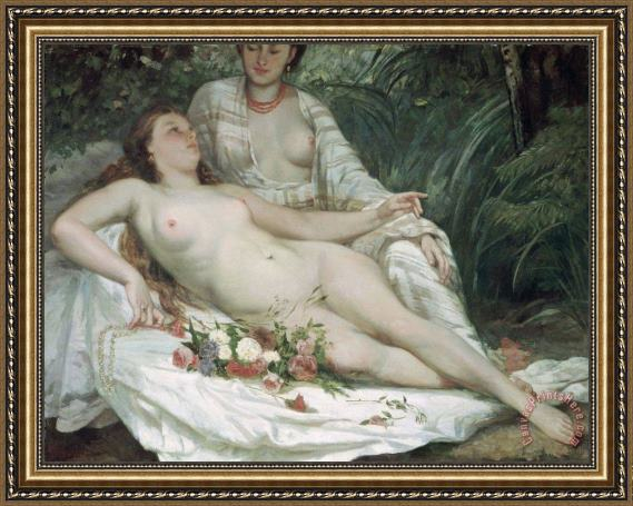 Gustave Courbet Bathers or Two Nude Women Framed Print