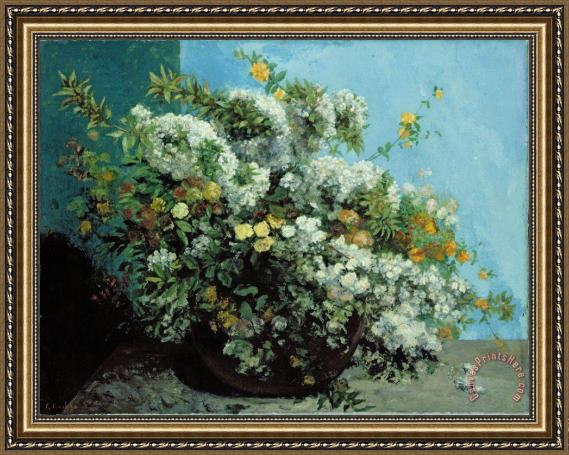 Gustave Courbet Flowering Branches and Flowers Framed Print