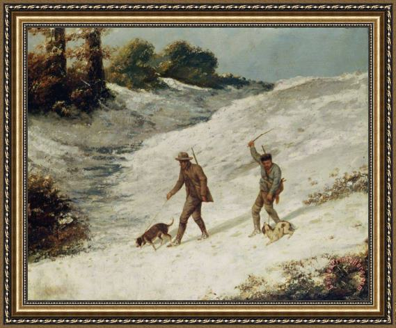 Gustave Courbet Hunters in the Snow or The Poachers Framed Print