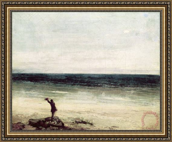Gustave Courbet The Artist on the Seashore at Palavas Framed Print