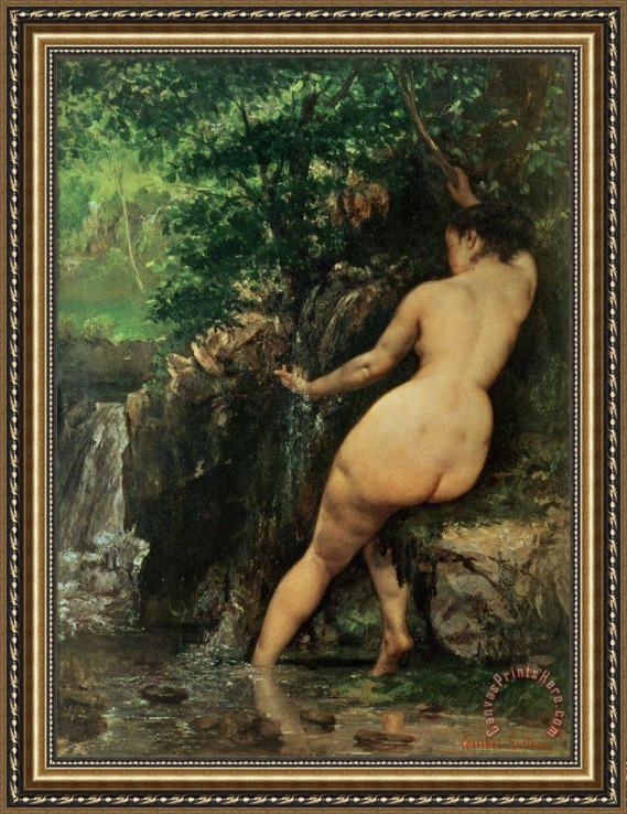 Gustave Courbet The Source or Bather at the Source Framed Print