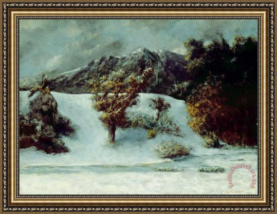 Gustave Courbet Winter Landscape With The Dents Du Midi Framed Print