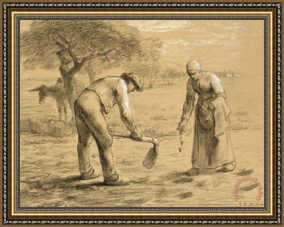 Jean-Francois Millet Peasants Planting Potatoes Framed Print