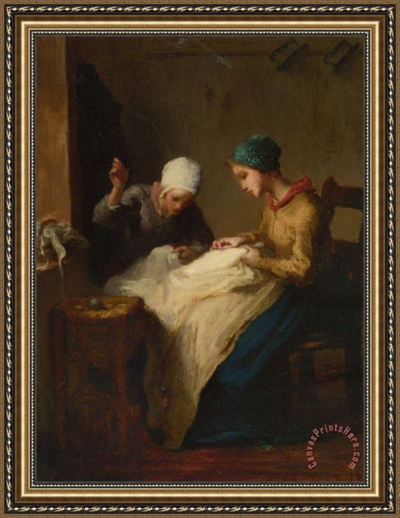 Jean-Francois Millet The Young Seamstress Framed Print