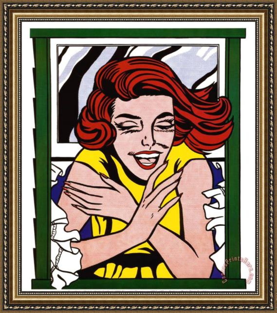 Roy Lichtenstein Girl in Window Framed Print