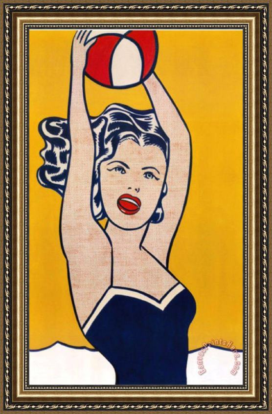 Roy Lichtenstein Girl with Ball Framed Print
