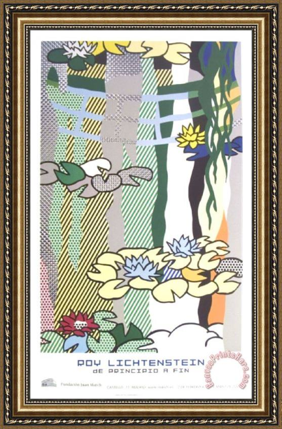 Roy Lichtenstein Water Lilies with Japanese Bridge Framed Print
