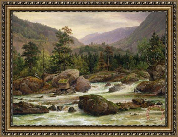 Thomas Fearnley Norwegian Waterfall Framed Painting