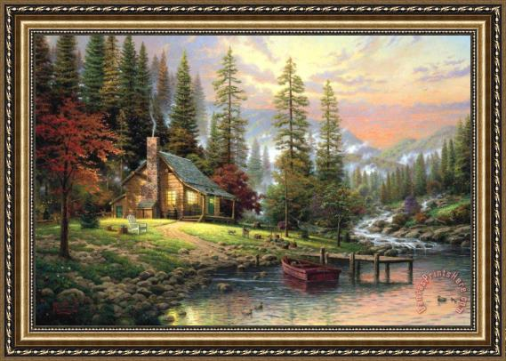 Thomas Kinkade A Peaceful Retreat Framed Print
