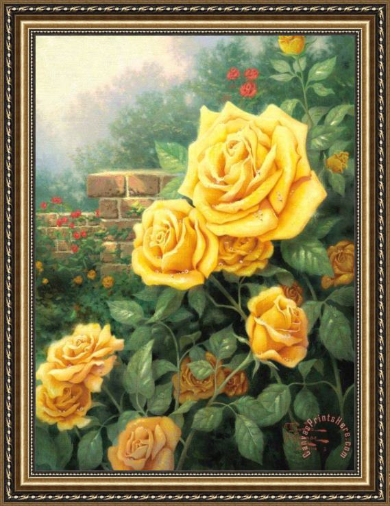 Thomas Kinkade A Perfect Yellow Rose Framed Print