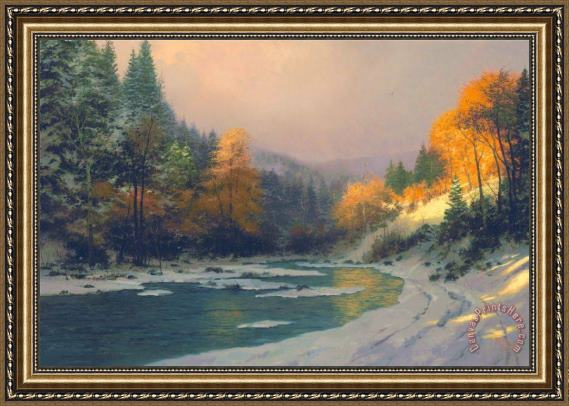 Thomas Kinkade Autumn Snow Framed Print