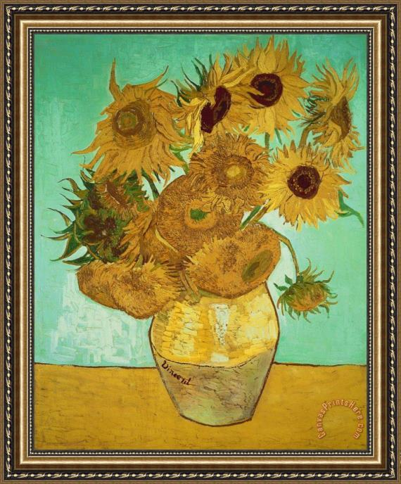 Vincent Van Gogh Sunflowers Framed Painting