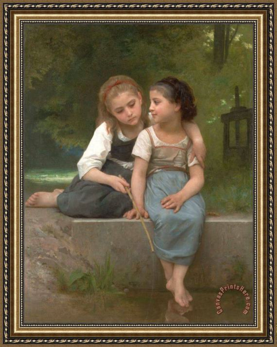 William Adolphe Bouguereau Fishing for Frogs Framed Print