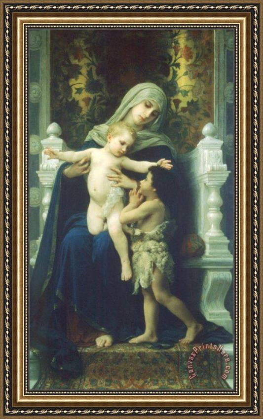 William Adolphe Bouguereau The Virgin, Baby Jesus And Saint John The Baptist Framed Print
