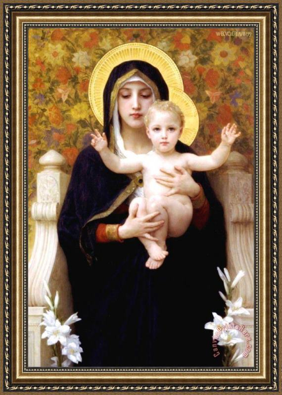 William Adolphe Bouguereau The Virgin of The Lilies Framed Print