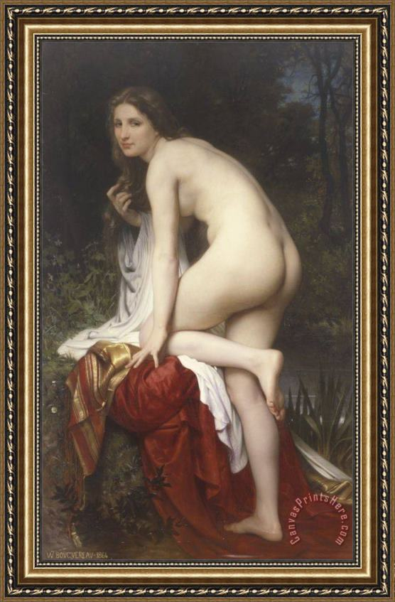 William Adolphe Bouguereau Woman Bathing Framed Print