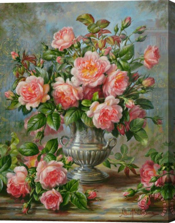 Albert Williams English Elegance Roses in a Silver Vase Stretched Canvas Print / Canvas Art
