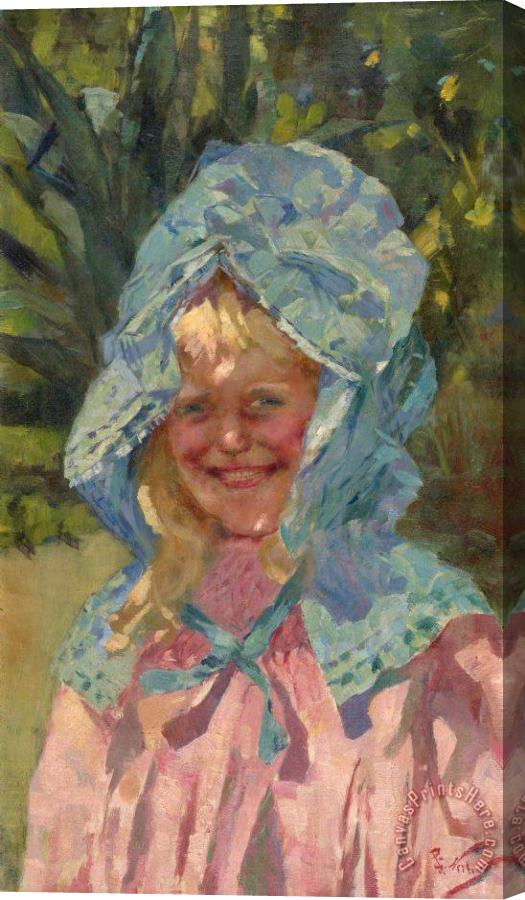Girolamo Nerli Girl in Sunbonnet Stretched Canvas Painting / Canvas Art
