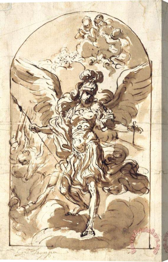 Girolamo Troppa The Archangel Michael Stretched Canvas Print / Canvas Art