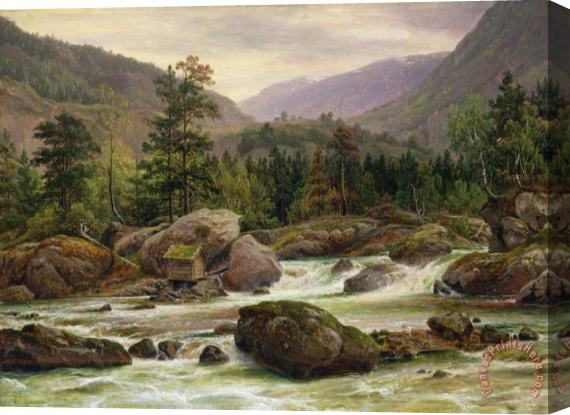 Thomas Fearnley Norwegian Waterfall Stretched Canvas Print / Canvas Art