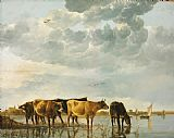 Aelbert Cuyp Cows in a River Print